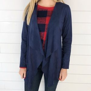 Soft Surroundings Faux Suede Navy Ultra Soft Cardi